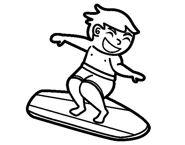 dibujo de surf con tabla para colorear