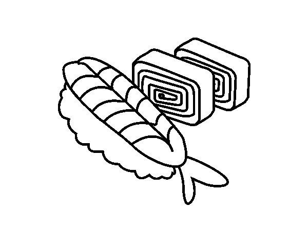 Dibujo de Sushi y sashimi para Colorear