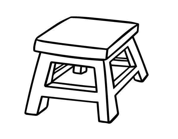 Dibujo de taburete cuadrado para colorear for Taburete dwg