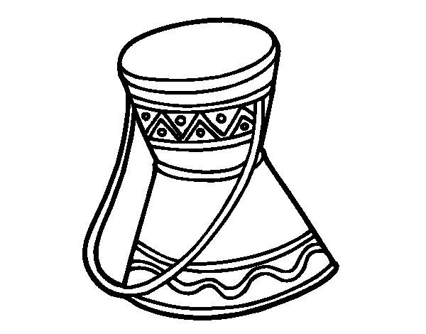 Dibujo de Tambor africano para Colorear