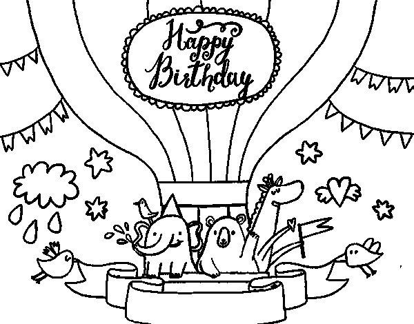 Dibujo de Tarjeta de Feliz Cumpleaños para Colorear ...