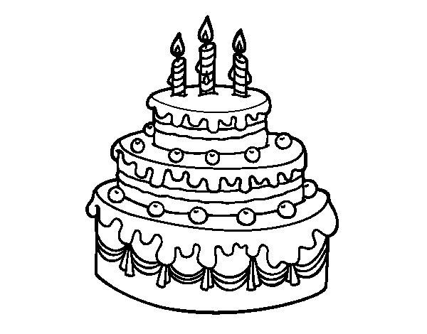 Dibujo de Tarta de cumpleaños para Colorear
