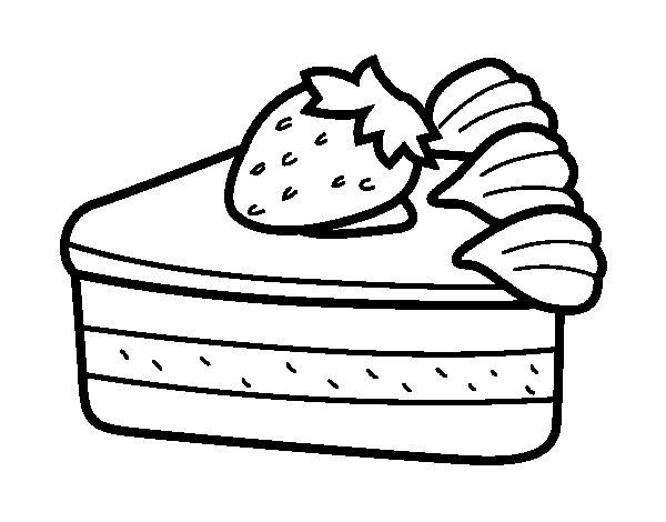 Dibujo de tarta de fresas para colorear - Dibujos de tartas para colorear e imprimir ...