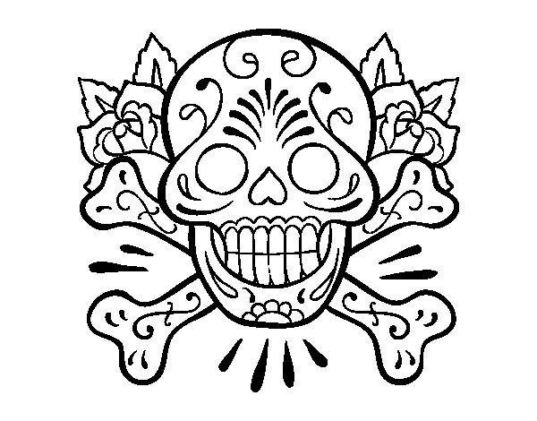 Dibujos De Calaveras Bonitas Para Colorear: Dibujo De Tatuaje De Calavera Para Colorear