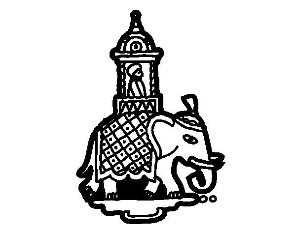 Dibujo de Taxi-elefante para Colorear