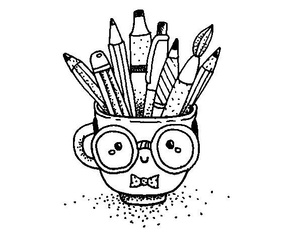 Dibujo de Taza animada con lápices para Colorear