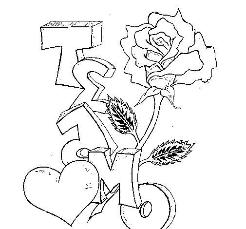 Dibujo de Te amo II para Colorear  Dibujosnet