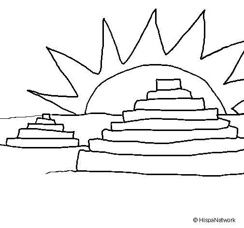 Dibujo de Templos Mayas para Colorear