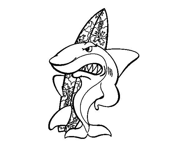 Dibujo de Tiburón surfero para Colorear