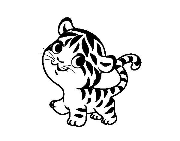Dibujos Animados De Bebes Para Colorear: Dibujo De Tigre Bebé Para Colorear