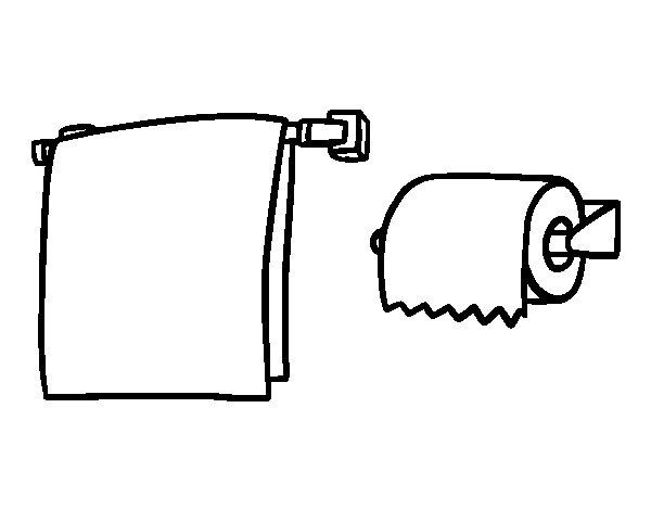 dibujo de toallero y papel higiénico para colorear - dibujos.net - Imagenes De Un Bano Para Colorear