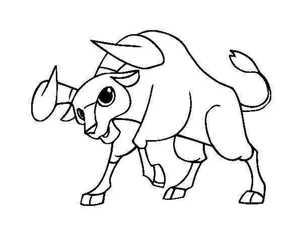 Dibujos San Fermin Para Colorear: Dibujo De Toro Bravo Para Colorear