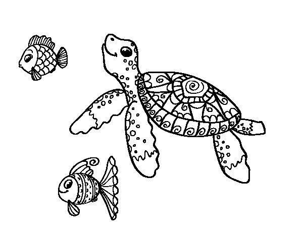 Dibujo de Tortuga de mar con peces para Colorear  Dibujosnet