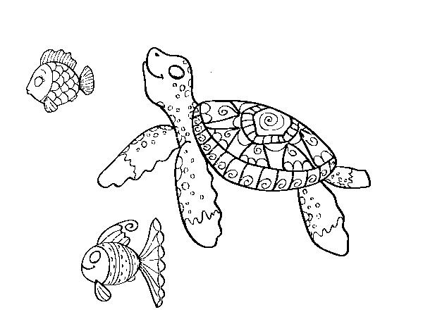Dibujos De Peces Para Imprimir Y Colorear: Dibujo De Tortuga De Mar Con Peces Para Colorear