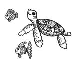 Dibujo de Tortuga de mar con peces para colorear