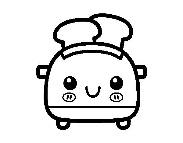 dibujo de tostadora de pan de molde para colorear