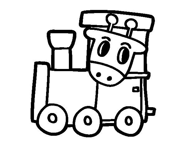 Dibujo de Tren con jirafa para Colorear  Dibujosnet