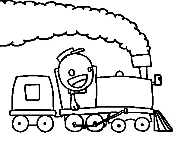 Dibujo de Tren con maquinista para Colorear