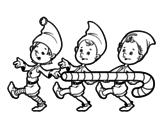 Dibujo de Tres Elfos de Navidad para colorear