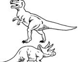 Dibujo de Triceratops y tiranosaurios rex para colorear