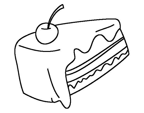 Dibujo de Trozo de pastel para Colorear