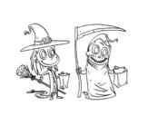 Dibujo de Truco o trato de Halloween para colorear