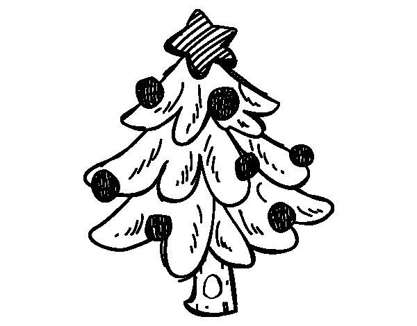 dibujo de un rbol navidad para colorear