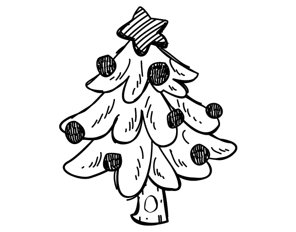 Dibujo de un rbol navidad para colorear for Arbol navideno para colorear