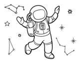 Dibujo de Un astronauta en el espacio estelar para colorear