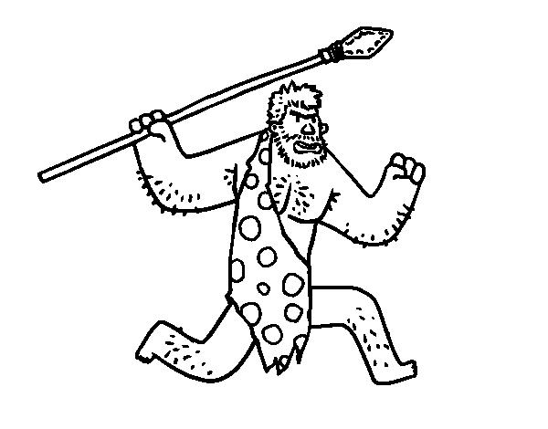Dibujos De Prehistoria Para Ninos Para Colorear: Dibujo De Un Cavernícola Para Colorear