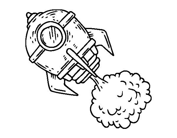 Cohete De Astronauta Y Vintage De Dibujos Animados: Dibujo De Un Cohete Para Colorear