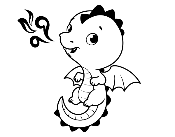 Dragones Feroces Para Colorear: Dibujo De Un Dragón Bebé Para Colorear