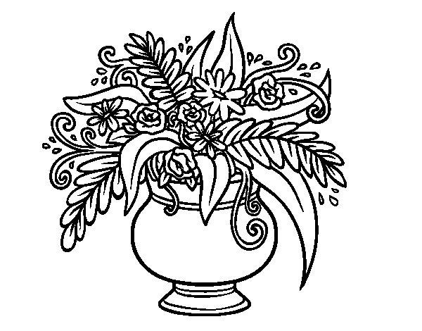 Dibujos Para Colorear De Flora: Dibujo De Un Jarrón Con Flores Para Colorear