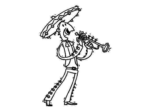 Dibujo de Un mariachi para Colorear