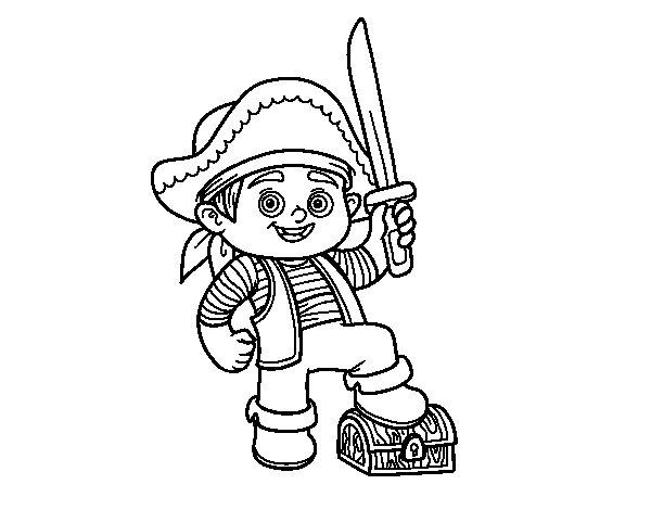 Imagenes De Niños Y Niñas Leyendo Para Colorear: Dibujo De Un Niño Pirata Para Colorear