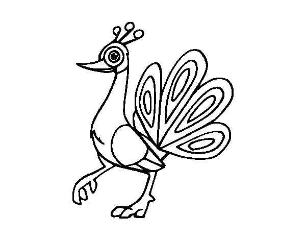 Dibujo de Un pavo real para Colorear