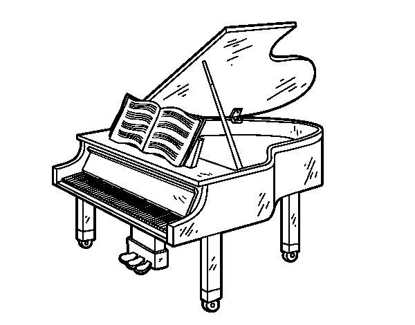Dibujo de Un piano de cola abierto para Colorear
