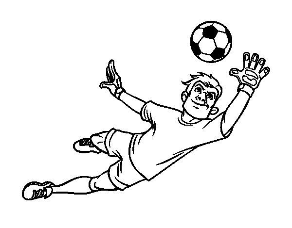 Dibujos De Futbolistas Famosos Para Colorear: Dibujo De Un Portero De Fútbol Para Colorear