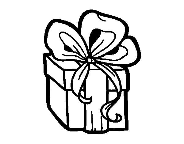 Dibujo de Un regalo de Navidad para Colorear