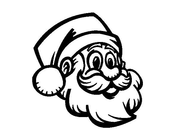 Dibujo de Un Rostro de Papá Noel para Colorear - Dibujos.net
