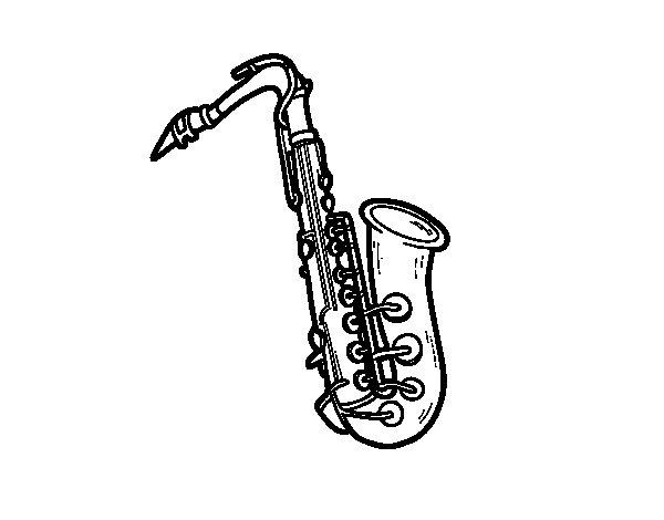 Dibujo de Un saxofón tenor para Colorear