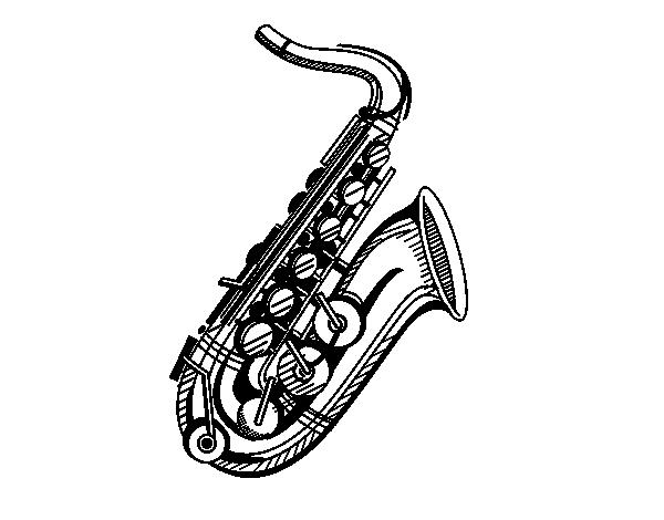 Dibujo de un saxof n para colorear - Dessin saxophone ...