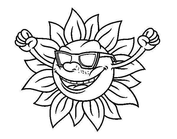 Dibujo de un sol con gafas de sol para colorear for Immagini sole da colorare