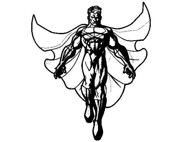 Dibujo de Un Super héroe volando para Colorear