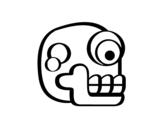 Dibujo de Una calavera azteca para colorear