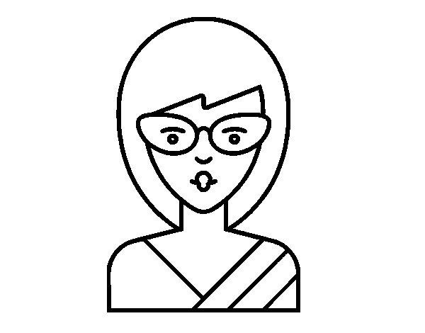 Dibujo de Una chica con gafas para Colorear