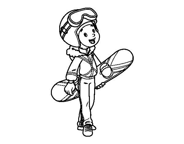 Dibujo de Una chica Snowboard para Colorear