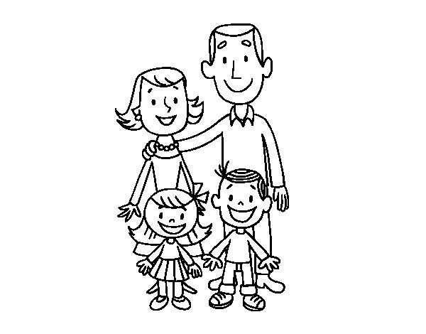 Dibujo de Una familia para Colorear  Dibujosnet