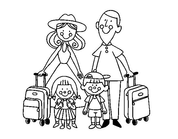 Dibujo Para Colorear Viajar: Dibujo De Una Familia De Vacaciones Para Colorear