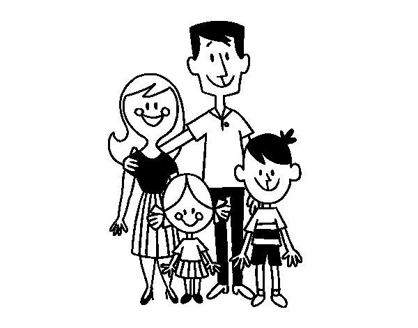 Dibujo de Una familia feliz para Colorear